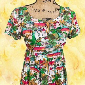 City print watercolor mini dress